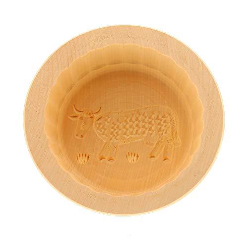 HOFMEISTER® Butterform, für 250 g Butter, 11 cm, Kuh, handgefertigt in Deutschland, Butter-Form zum Dekorieren, runde Sturz-Form, Butter-Model aus heimischem Ahorn-Holz