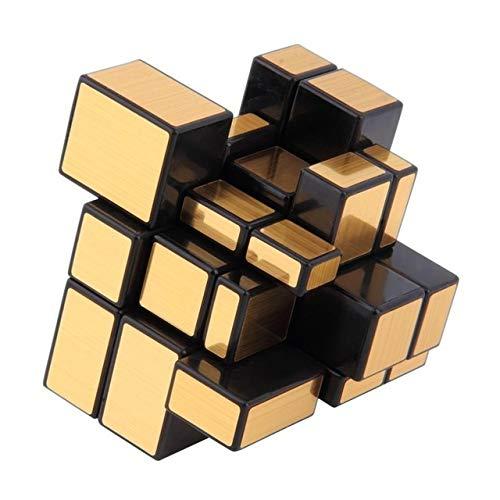 JIAMIN Cubo de Rubik's Cube Espejo Cubo Oro Plata Profesional Speed Cubes Puzzles Speedcube Juguetes educativos para niños adultos Regalos Rubik Cubo (Color: Dorado)