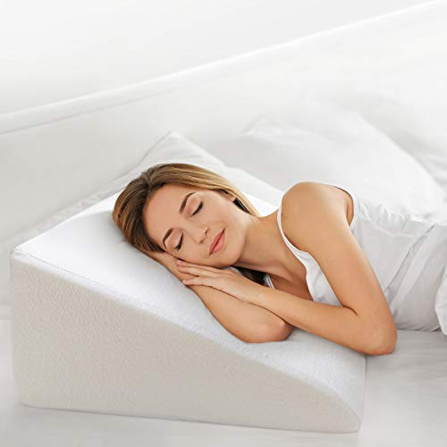 """OasisSpace Bed Wedge Pillow, 12¡± Elevated Pillow for Bed Head Wedge Pillow 1.5 Inch Memory Foam Top with Removable Washable Cover (25""""x24""""x12"""") for Acid Reflux, Snoring, Allergies, Reading, Back Pain"""
