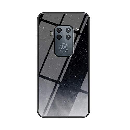 SHIEID Hülle für Motorola Moto One Zoom Hülle,Marmor Gehärtetem Glas und Silikon Rand Hybrid Hardcase Stoßfest Kratzfest Handyhülle Dünn Hülle Handyhülle für Motorola Moto One Zoom (Sternhalbmondl)
