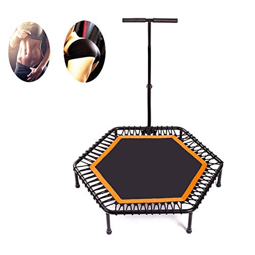 WQYRLJ 120Cm Portable Mini Trampoline, Fitness Rebounder for Adults with Adjustable Foam Handle for Indoor Exercise Leisure Entertainment Bouncing Adult Kids Trampolines