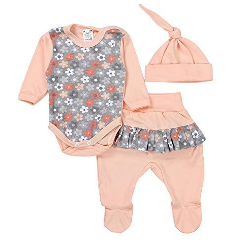TupTam Baby Kleidung Set Body Strampelhose Mütze Teddybär, Farbe: Blumen/Aprikose, Größe: 56