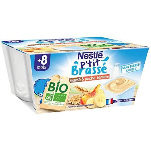 Nestlé Bébé P'tit Brassé BIO - Coupelle lactée Muesli Pêche, Banane - Dès 8 mois 4x90g