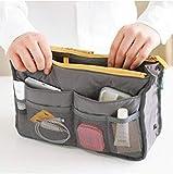 IENPAJNEPQN Donne Lady Portatile Viaggi Inserire organizzatore della Borsa Tasche Multiple di Nylon della Fodera alla Moda Trucco del Sacchetto dell'organizzatore (Color : Gray, Size : 29x17x9cm)