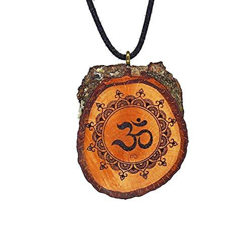 SOULSLICES Mandala OM 5 Holz Kette Mandalaschmuck - Ethnoschmuck - Ibiza Hippie - Astschmuck - Holzanhänger - Vegan - Handmade