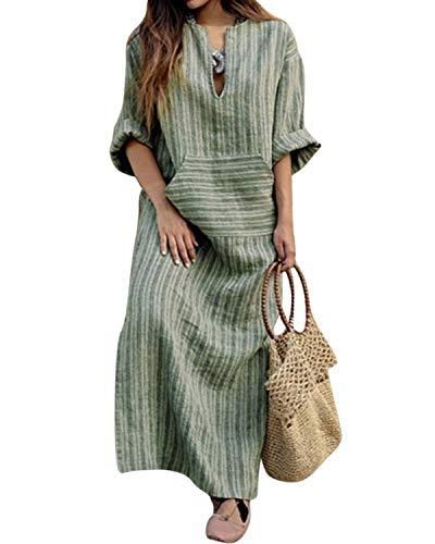 Jacansi Women Long Sleeve V-Neck Vintage Cotton Linen Loose Maxi Kaftan Dress (02-Green, M)