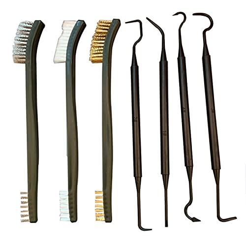WZWS Kits de Limpieza para Coche Accesorios para Herramientas de Limpieza de automóviles Cepillo de Alambre y 4 selecciones de Nylon y Juego de cepillos 3 Cabezas Dobles (Color : Negro)