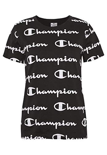 Champion Seasonal AC Logo Allover Crewneck T-Shirt Camiseta, Black, L para Mujer
