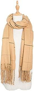 WUNONG-AU Ladies Increase Tassel Fashion Keep Warm Shawl Europe and America Autumn Winter Imitation Cashmere Large Plaid Scarf (Color : Khaki, Size : 200cm)