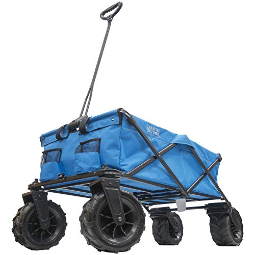Creative Outdoor Giant All-Terrain Collapsible Folding Wagon Cart for Kids | XXXL Monster Series Wagons | Beach Park Garden & Tailgate | Multiple Color Options (Blue)