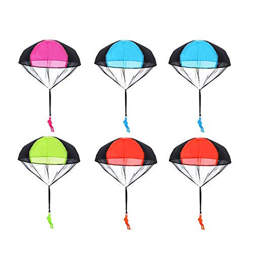 6 Pieces Parachute Toys for Kids Gifts, Topseller Tangle Free Throwing Toys Parachute Figures Hand Throw Soldiers Toss It Up and Watching Landing Outdoor Toys Children's Flying Toys Party Pack (#1)