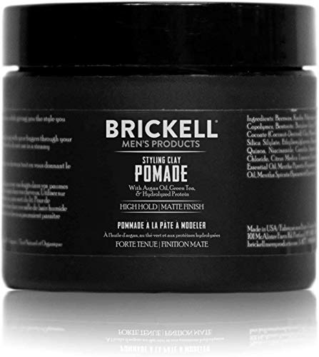 Brickell Men's Styling Clay Pomade For Men, Natural & Organic with Strong Hold & Matte Finish,...