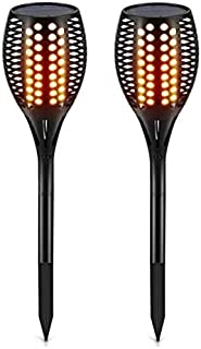 Solar Light Garden Lamp Path Tiki Torches Lights Dancing Flame Lighting 96 LeD Flickering Tiki Torches Outdoor Waterproof ...
