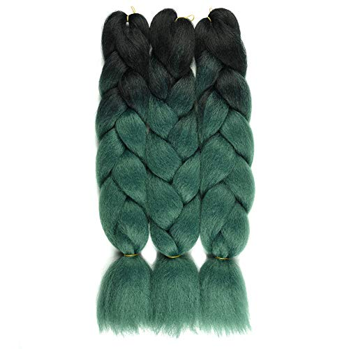 FASHION LADY Ombre Braiding Hair Kanekalon Jumbo Braids 24'-100g 3Pc/Lot Dark Black Synthetic Braiding Hair Extensions(Black-Dark Green)