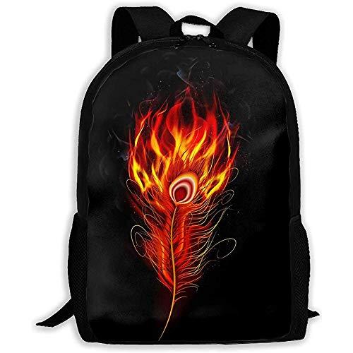 Lmtt Mochila Pluma de Pavo Real ardiente al Fuego con Mochila Negra Bolsa de Viaje Informal para Adolescentes niños niñas