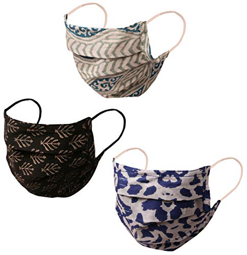 Touchstone Indian Heritage Fabric Filter Pocket Nose Bridge Double Layer Cotton face mask...