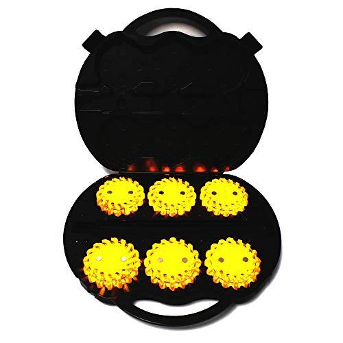 PrimeMatik - Maleta de 6 balizas de señalización LED color amarillo IP67