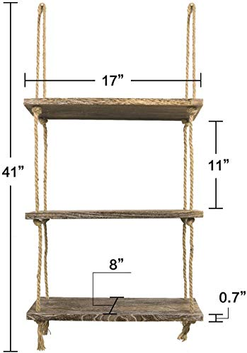Decorative Wood Hanging Shelf Wall Swing Storage Shelves Rope Floating Shelves with Hooks Corner Shelves for Living Room Bathroom and Kitchen Bedroom Awekris 3 Tier Wall Hanging Shelf
