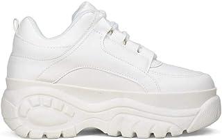 Sneakers de Piel Vegana con Plataforma Maxi y Detalles en la Suela. Cierre con Cordones.