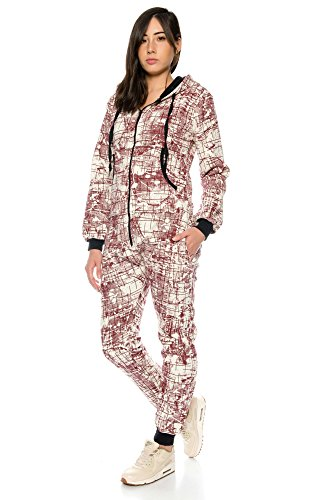 Crazy Age Damen Jumpsuit Overall Hausanzug Freizeitanzug Jogginganzug Einteiler Sportanzug (Rot) - 3