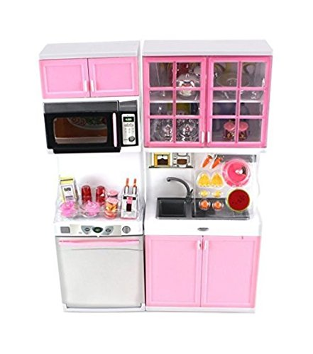 "Modern Kitchen 16"" Battery Operated Toy Kitchen Playset, Perfect for Use with 11-12"" Tall Dolls"