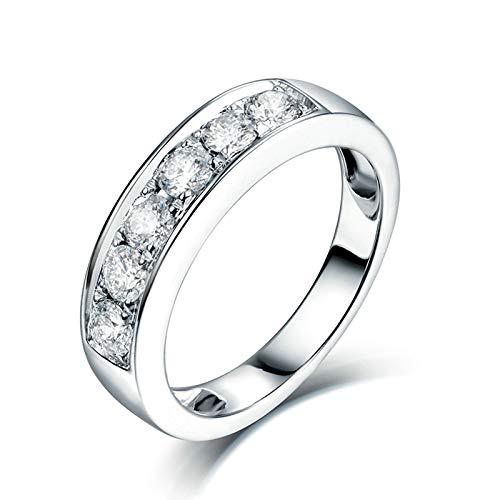 Beydodo Anillos Unisex Pareja,Anillos Mujer Oro Blanco 18 Kilates Plata Redondo Diamante 0.65ct Talla 8(Circuferencia 48MM)