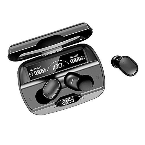 Auriculares inalámbricos Bluetooth 5.1 IPX4, a prueba de agua, emparejamiento automático, auriculares con pantalla de reloj, efecto de reducción de ruido 8D