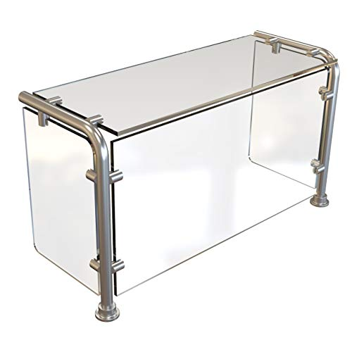 ADM Sneezeguard | EP-11 | Stainless Steel | Full Service Sneeze Guard | Pass Over Sneeze Shield | Buffet Food Guard | Includes Posts | Options: Glass and End Panels | (20' With End Panels)