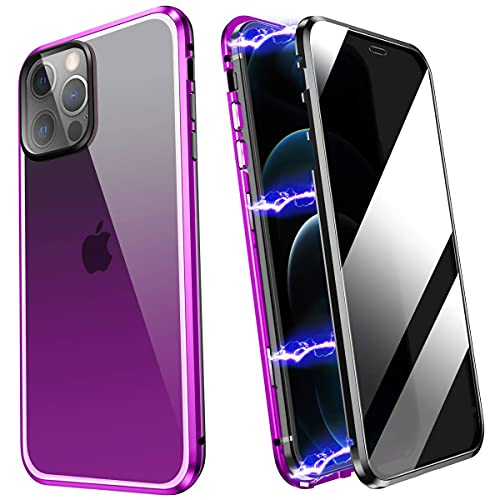 YUNQE Compatible with iPhone 12 Pro Max Case,Screen Protector Free Anti Peep Magnetic Phone Case Luxury Double Sided Protective Hard Cover Metal Frame with Camera Lens Full Body Protection,Purple