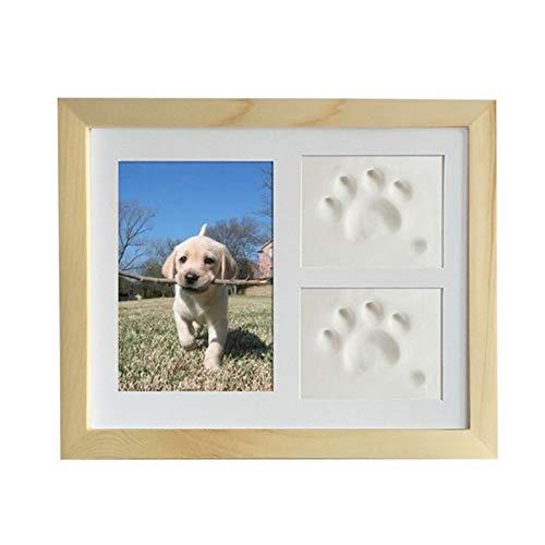 LXJ Casket, Tierurnen for Hunde, Haustier Gedenksteine, Haustier-Denkmal Bilderrahmen Katzen und Hunde Tatzen-Druck-Foto-Rahmen for Raum-Wand-oder Tischdekoration (Color : Wood Color)