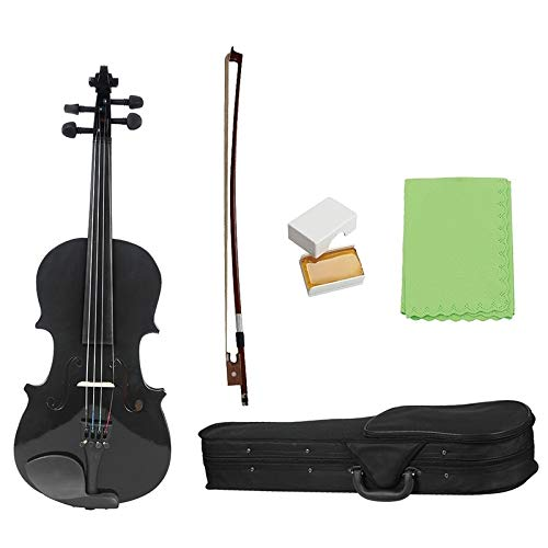 YUXIwang Violine 1/8 Kinder Kinder Natürliche akustische Violine Geige mit Fall Bogen Bogen Kolophonium Musical Instrument Geschenke Instrumente ( Color : Black )
