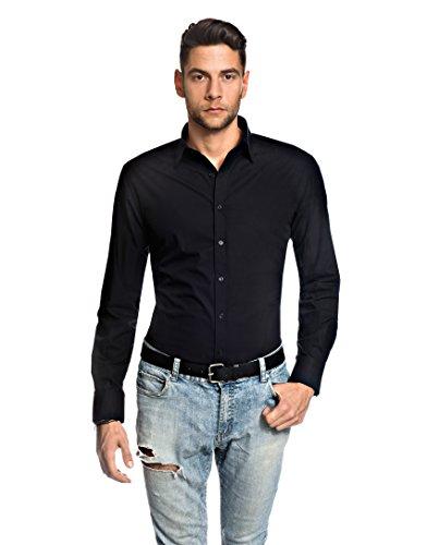 Embraer Herren-Hemd Slim-Fit tailliert bügelfrei 100% Baumwolle Uni-Farben - Männer lang-arm Hemden für Anzug Krawatte Business Hochzeit Freizeit oder unter Pullover schwarz 37/38