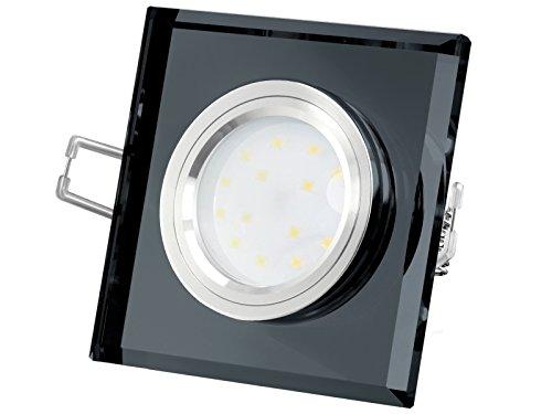LED-Einbaustrahler extrem flach (15mm) aus schwarzem Echtglas eckig mit 5W LED Modul warmweiß 2700K 230V ohne Trafo | Oberfläche Echtglas schwarz spiegelnd| glanzpolierter Innenring | Top Design