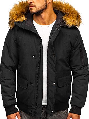 BOLF Herren Winterjacke Sportjacke Puffer Jacket Gepolstert Outdoor Casual Street Look J.Style 2019 Schwarz L [4D4]