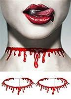 ハロウィーンコスチューム レディース ガールズ ブラッドチョーカー ネックレス 血を垂らすネックレス ハロウィン デコレーション ギフト ハロウィン バンパイア ネックレス アクセサリー 2個