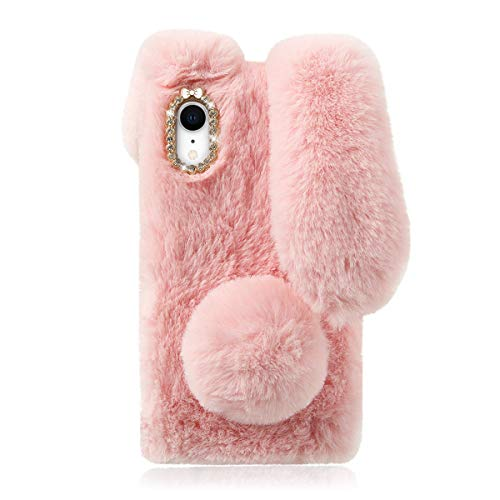Mikikit Furry Bunny Phone Case for iPhone XR, Rabbit Pink Case Fluffy Faux Fur Phone Case Protective Phone Shell Cute Stuffed Plush Animal Cover for iPhone XR Case for Girls
