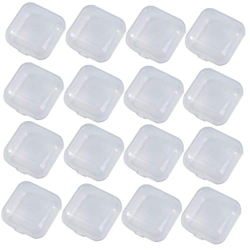 Chris.W 50Pcs Mini Clear Plastic Small Box Jewelry Earplugs Storage Box Case Container Bead Makeup Clear Organizer Gift