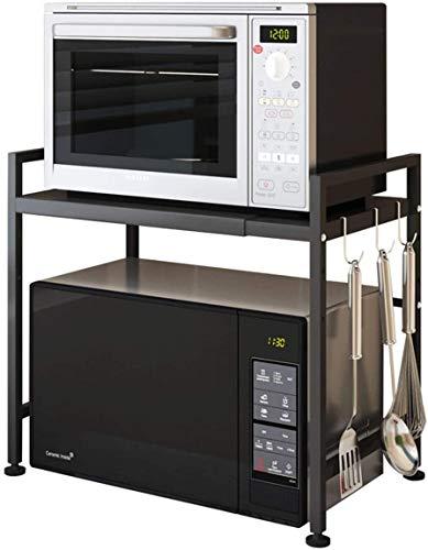 Mocosy Rejilla para Horno de microondas, Estante mi Extensible y Ajustable en Altura, Organizador de Cocina de 1 Nivel con 3 Ganchos, Acero al Carbono, Capacidad de Peso de 55 Libras, Negro