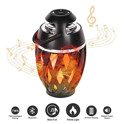 CO-Z LED Flame Light Bluetooth Speaker Outdoor, Portable Stereo Sound Table Lamp with Deep Bass for Garden/Patio Party, Bluetooth 5.0 for iPhone/iPad/Android