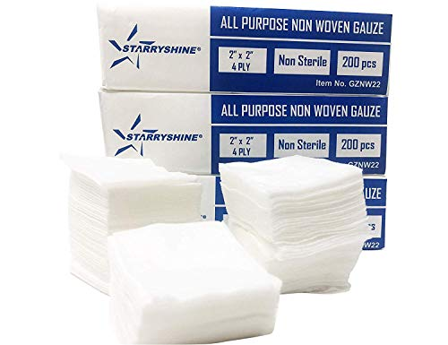 1000 PC (5 PKS) 2'X2' Non-Woven 4-Ply Dental Medical Gauze Pad, Non-Sterile All Purpose Gauze Sponges, 4-Ply Cotton Filled Sponges Provide Maximum Absorption