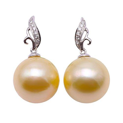 JYX Orecchini pendenti in oro 18 carati con perle di qualità AAA+, 12 mm, rotondi, con perle coltivate in mare del sud, punteggiate di diamanti per le donne