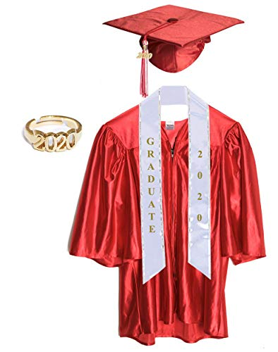 Small Red Shiny Child Graduation Cap, Gown, Tassel and 2020 Charm