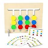 KoelrMsd Juguetes educativos para niños Juego de lógica de Frutas de Cuatro Colores Iluminación Montessori de Madera de Doble Cara