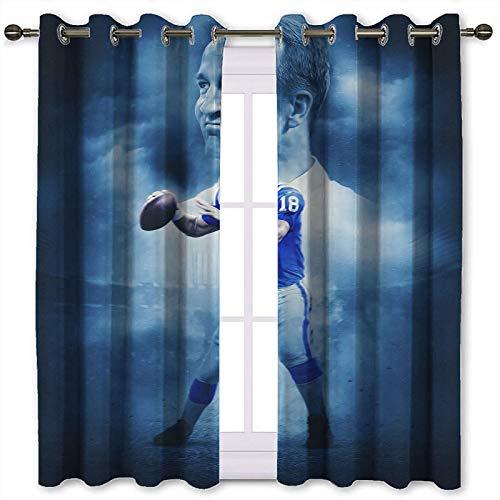 SSKJTC Peyton Manning - Cortinas opacas para ventana (140 x 115 cm), color azul