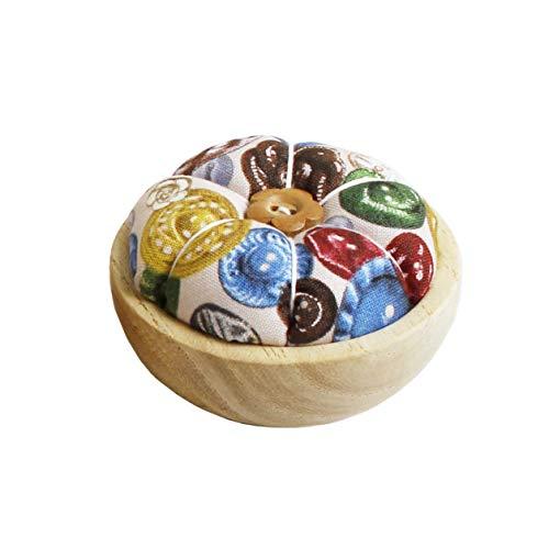 NBK WOOD-B ウッドボウルピンクッションキット ボタン柄 W7×H4.5cm