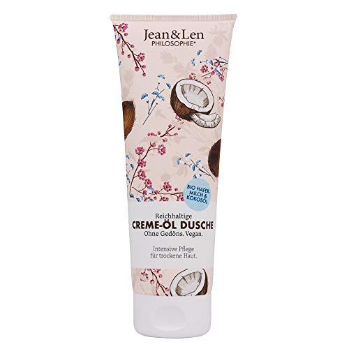 Jean & Len Creme-Öl Dusche Intensiv Bio-Hafermilch & Kokosöl, reichhaltige Pflege für trockene Haut, 250 ml, 1 Stück, 2800100301