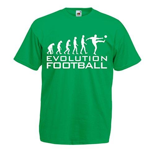 lepni.me Camisetas Hombre La evolución del fútbol - Camiseta de fanático del Equipo de fútbol de la Copa Mundial (Medium Verde Blanco)