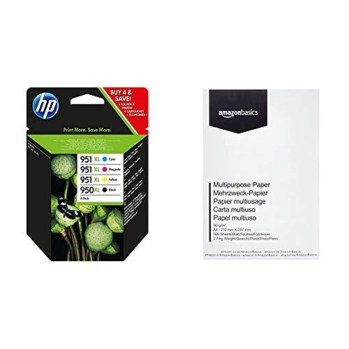 HP 950XL/951XL Multipack Original Druckerpatronen mit hoher Reichweite für HP Officejet Pro 276dw, 8600, 8610, 8620, 251dw, 8100 & AmazonBasics Druckerpapier, DIN A4, 80 g/m², 500 Blatt, Weiß