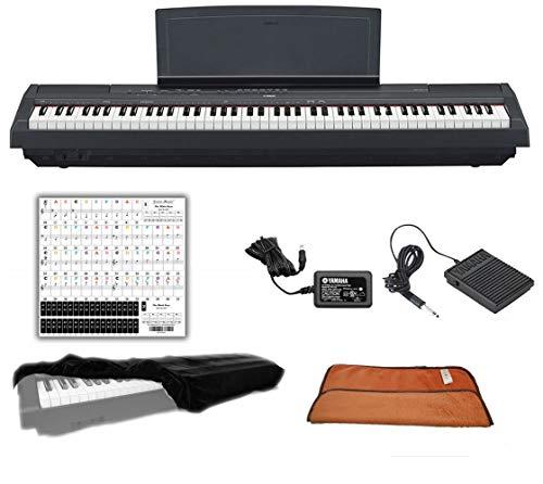 Yamaha P125 Black 88 Weighted Keys Digital Piano Keyboard Bundle with Juliet Music Piano Dust Cover, Polish Cloth and Piano Key Sticker (P125B)