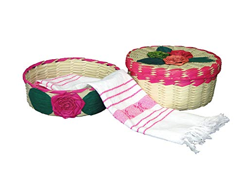 2 pack Mexican handmade palm baskets (one with lid) and 1 woven napkin cloth (servilleta mexicana) 100% cotton Eco Friendly tortilla warmer (tortillero) for party, fiesta decoration (Pink)